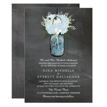 blue hydrangea mason jar chalkboard | wedding invitation