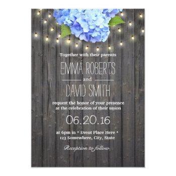 blue hydrangea & string lights barn wood wedding invitation