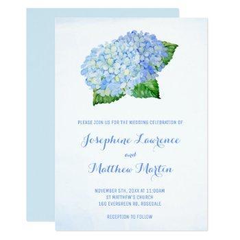 blue hydrangea watercolor wedding invitations