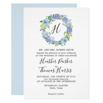 blue hydrangeas floral monogram wedding invitation