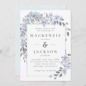 blue hydrangeas frame watercolor wedding invitation