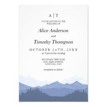 blue mountains monogram wedding invitation