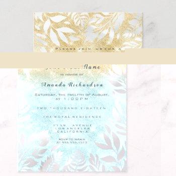blue ocean gold glitter ombre floral sparkly white invitation