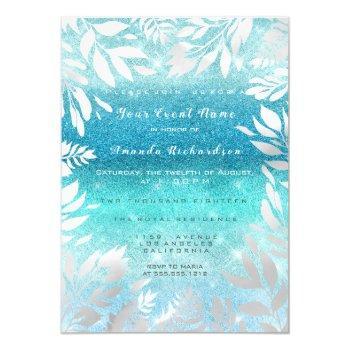 blue ocean sky glitter ombre floral foil navy invitation