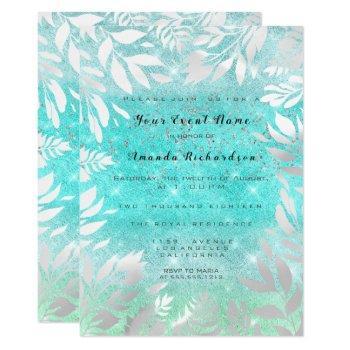 blue ocean sky glitter ombre floral frame invitation
