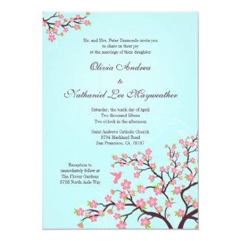 blue pink cherry blossoms wedding invitation