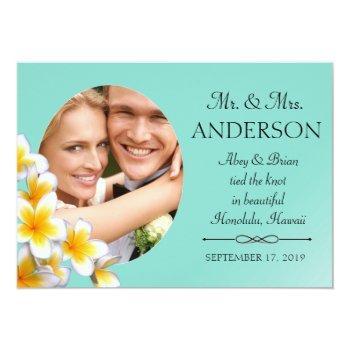 blue plumeria your photo custom invitation