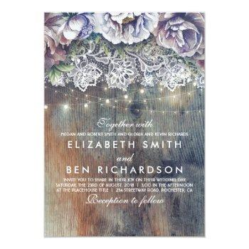 Small Blue Purple And Plum Vintage Floral Lace Wedding Invitation Front View