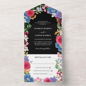 blue red flowers floral wedding all in one invitation