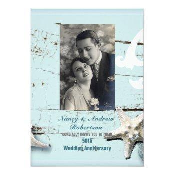 blue seashell beach 50th wedding anniversary invitation