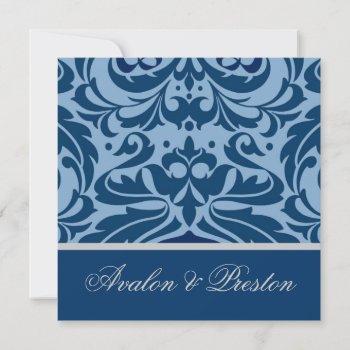 blue & silver damask elegant wedding invitation