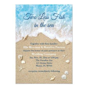 Small Blue Two Less Fish In The Sea Wedding Invitation Front View