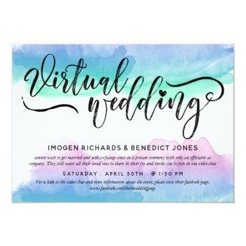 Small Blue Violet Watercolor Virtual Wedding Invitation Front View