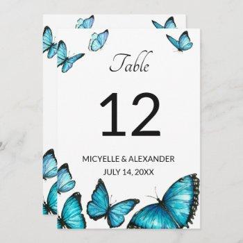 blue watercolor butterflies wedding table number
