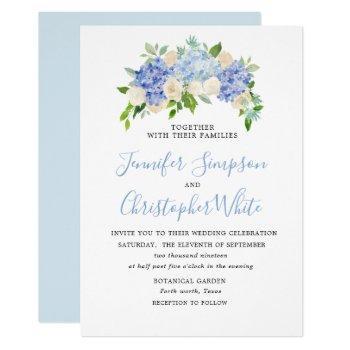 blue watercolor hydrangea wedding invitation cards