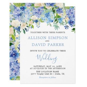 blue watercolor hydrangeas floral wedding cards