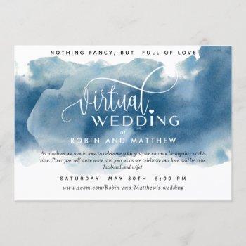 blue watercolor, online virtual wedding invitation