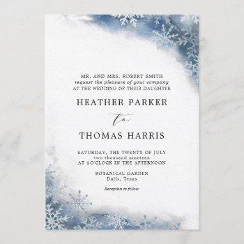 blue watercolor snowflake elegant winter wedding invitation