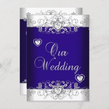 blue wedding silver diamond hearts 2a invitation