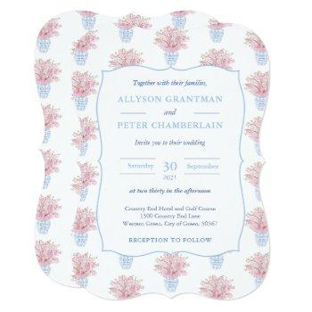 blue white and pink chinese pottery wedding invitation