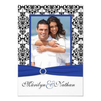 blue, white, black damask photo wedding invitation