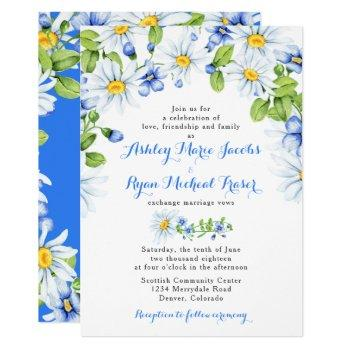 blue white daisy floral wedding invitation