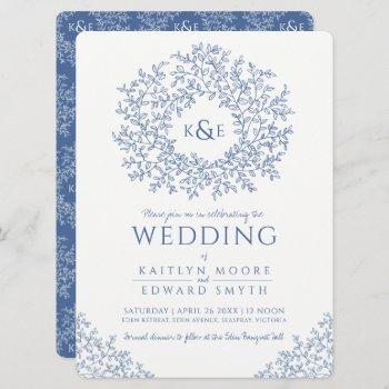 blue white hand drawn leaf monogram art wedding invitation