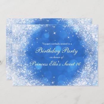blue & white sparkle cinderella any event party invitation