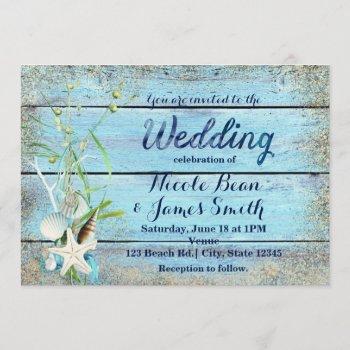 blue wood beach tropical wedding invitation