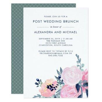 blush and navy floral | post wedding brunch invitation