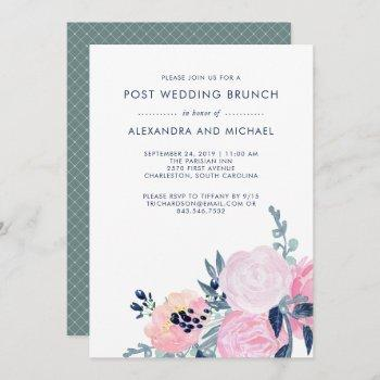 blush and navy floral | post wedding brunch invitation