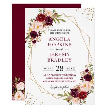 blush burgundy floral modern gold frame wedding invitation
