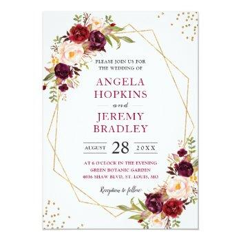 Small Blush Burgundy Floral Modern Gold Frame Wedding Invitation Front View