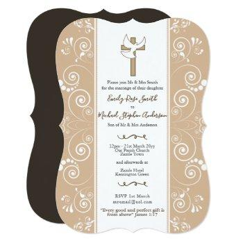 blush catholic wedding invites dove + bible verse