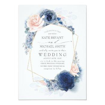 Small Blush Dusty And Navy Blue Floral Wedding Invitation Front View