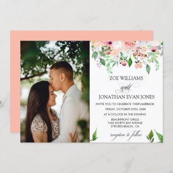 blush floral greenery personalized photo wedding invitation