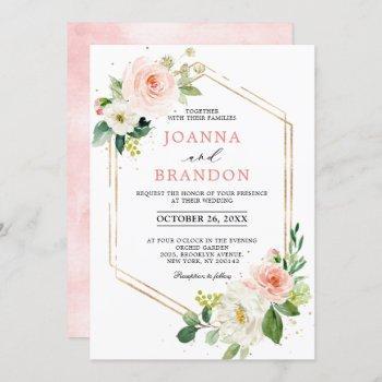 blush florals gold modern geometric frame wedding invitation
