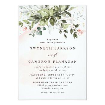 Small Blush Gold Greenery Succulent Dusty Blue Wedding Invitation Front View