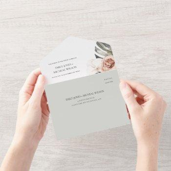 blush grey peach floral monstrera leaf wedding all in one invitation
