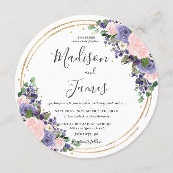 blush lavender floral wedding gold glitter circle invitation