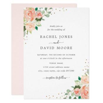 blush peach floral watercolor confetti wedding invitation