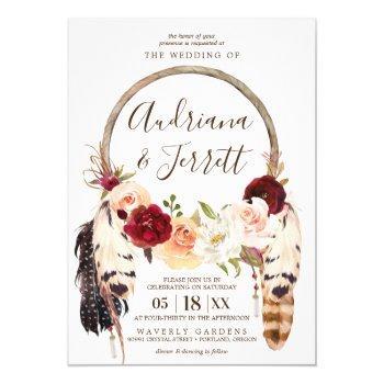 blush & peach rose boho dreamcatcher wedding invitation