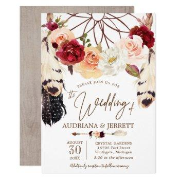 blush & peach rose dreamcatcher boho wedding invitation