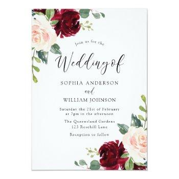 Small Blush Perfection: Watercolor Floral Wedding Invitation Front View