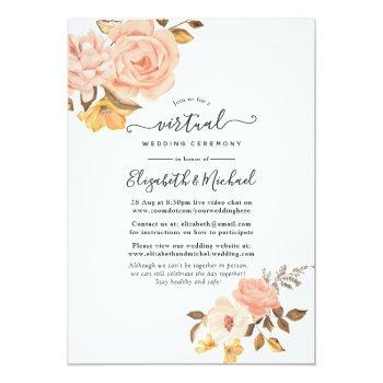 Small Blush Pink And Gold Floral Online Virtual Wedding Invitation Front View