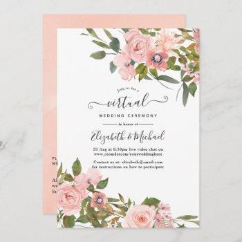 blush pink and rose gold floral virtual wedding invitation