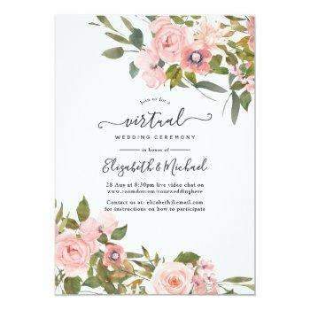 Small Blush Pink And Rose Gold Floral Virtual Wedding Invitation Front View