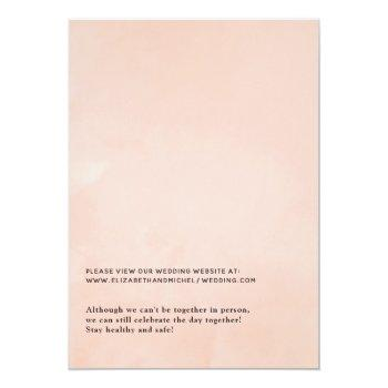 Small Blush Pink And Rose Gold Floral Virtual Wedding Invitation Back View
