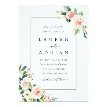 Small Blush Pink Bloom Wedding Invitation Front View