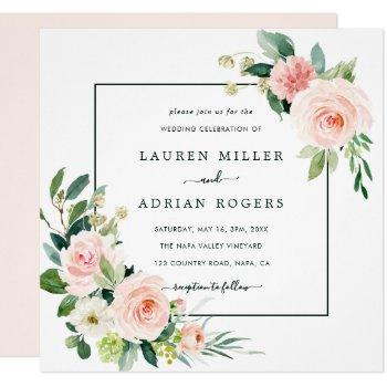 blush pink bloom wedding square invitation